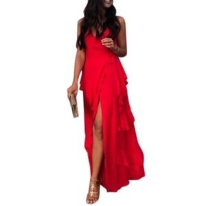 LPA Revolve Silk Wrap Ruffle Maxi Dress Gown 253
